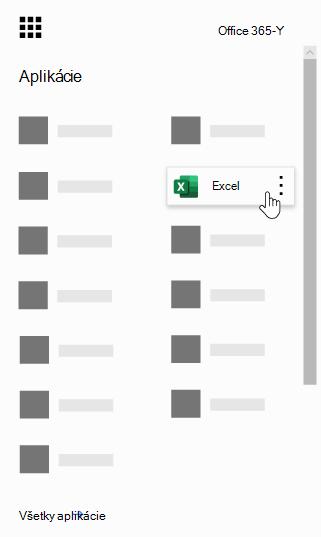 Spúšťač aplikácií v Office 365 so zvýraznenou aplikáciou Excel