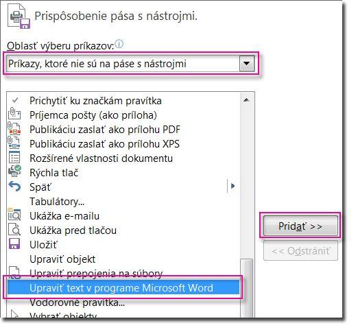 Pridanie tlačidla Upraviť text v programe Microsoft Word na publisherový panel s nástrojmi Rýchly prístup.