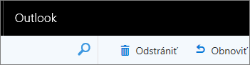 Snímka obrazovky zobrazuje odstrániť a obnoviť možnosti programu Outlook na paneli s nástrojmi web.