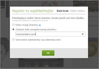 Na lokalite GoDaddy zadajte v časti s najdôležitejšími informáciami na úvod doménu zaregistrovanú inde