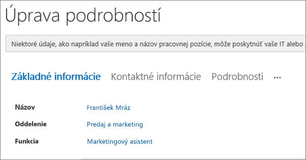 Snímka obrazovky s stránku úprava podrobností pre používateľa v Yammeri.