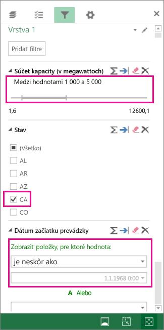 Filtre čísel, textových hodnôt a dátumov