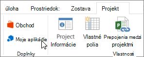 Snímka obrazovky s časťou karte projekt na páse s nástrojmi programu Excel na moje aplikácie. zvoliť moje aplikácie vyberte položku Naposledy použité aplikácie, spravovať svoje aplikácie alebo prejdite do obchodu pre nové aplikácie balíka Office.