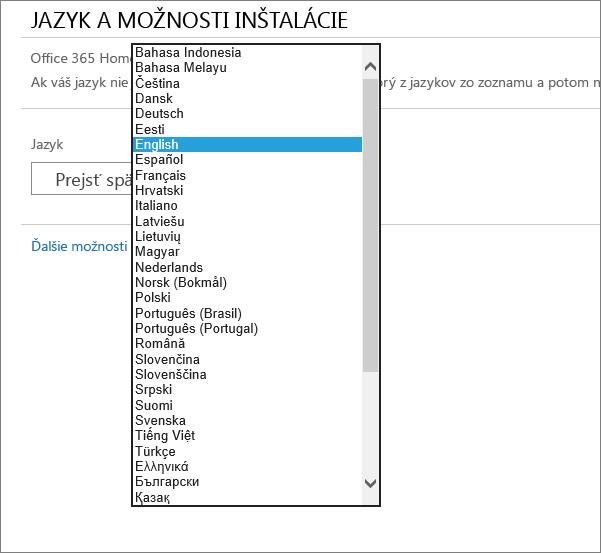 Zobrazia sa možnosti výberu jazyka v službe Office 365 Home