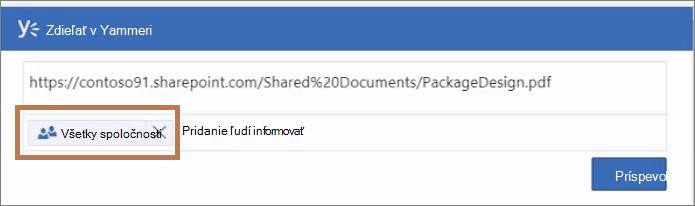 Zverejnenie príspevku PDF súboru na sieť Yammer