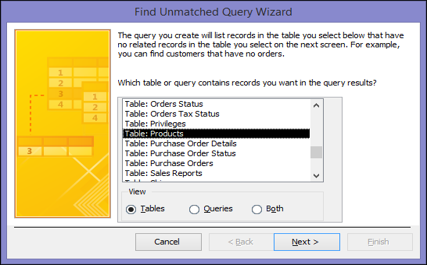 Výber tabuľky alebo dotazu v dialógovom okne Sprievodca vyhľadávacím dotazom pre nezhodné záznamy