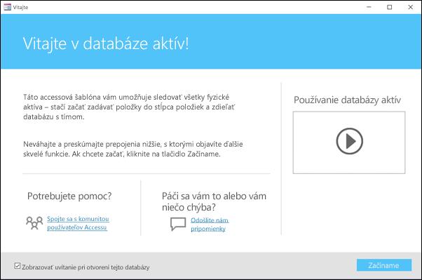 Formulár Začíname v šablóne databázy Accessu