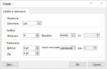 Obrázok dialógového okna odsek na úpravu zarážok a riadkovania textových polí