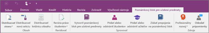 Karta Poznámkový blok pre učebné predmety.