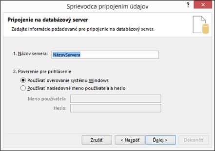 Sprievodca pripojením údajov > pripojiť sa k serveru