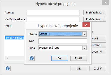Dialógové okno Hypertextové prepojenie