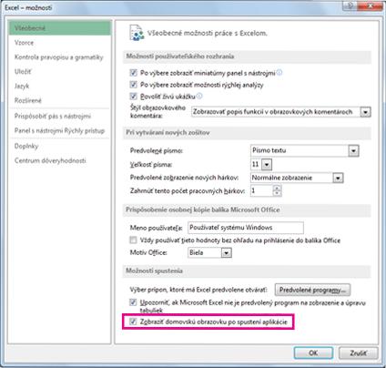 Možnosti spustenia v dialógovom okne Excel – možnosti