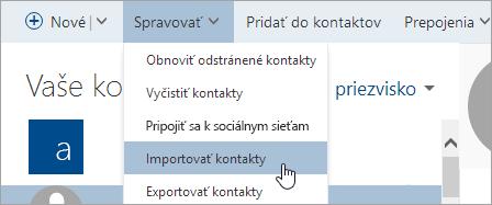 Snímka obrazovky stlačidlom Importovať kontakty.