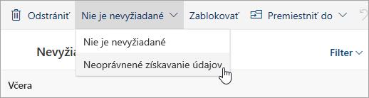 Snímka obrazovky stlačidlom Neoprávnené získavanie údajov vrozbaľovacej ponuke Nie je nevyžiadané