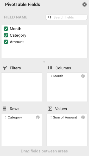 Príklad dialógového okna Excelu Polia kontingenčnej tabuľky