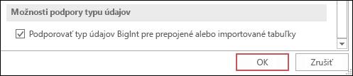 Snímka obrazovky s vybratou možnosťou podpory zadávania veľkých čísel pre prepojené alebo importované tabuľky v možnostiach Accessu.