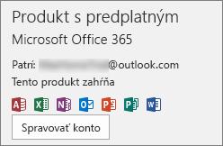 Zobrazenie e-mailového konta, ktoré je priradené kbalíku Office