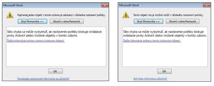 Chybové hlásenie Vložený objekt a Ovládací prvok ActiveX