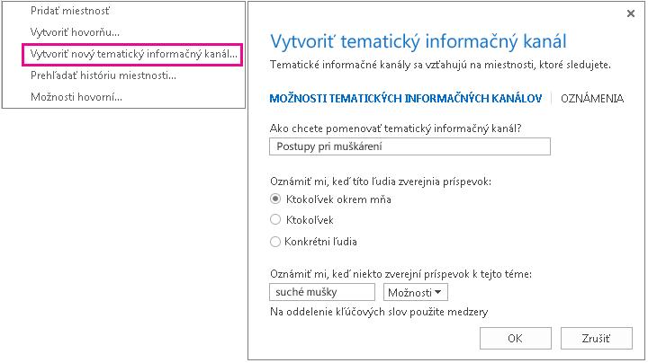 Snímka obrazovky s výberom ponuky a oknom na vytvorenie tematického informačného kanála