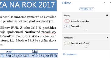Tabla editora zobrazujúca problémy kontroly pravopisu a gramatiky na opravu v otvorenom wordovom dokumente