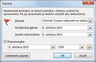 Vlastné dialógové okno na nastavenie pripomenutí, počiatočných dátumov a termínov dokončenia