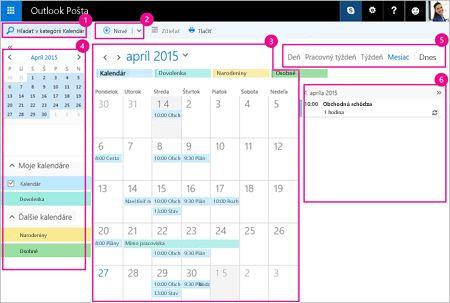Pomocou kalendára môžete spravovať schôdze ainé udalosti.