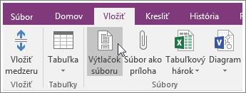 Snímka obrazovky s tlačidlom Výtlačok súboru vo OneNote 2016.