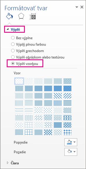 Výberom položky výplň vzorkou na table Formátovať tvar