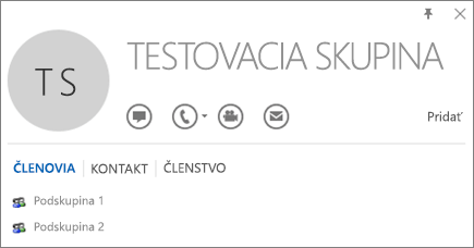 Snímka obrazovky zobrazujúca kartu Členovia na karte kontaktov Outlooku pre danú skupinu s názvom Testovacia skupina. Podskupina 1 a Podskupina 2 sú zobrazené ako členovia.