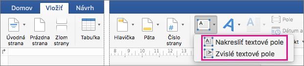 Kliknite na položku textové pole na vloženie buď textového poľa s vodorovný alebo zvislý text.