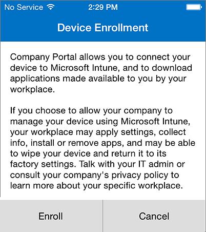 Registrácia aplikácie Company Portal viPhone