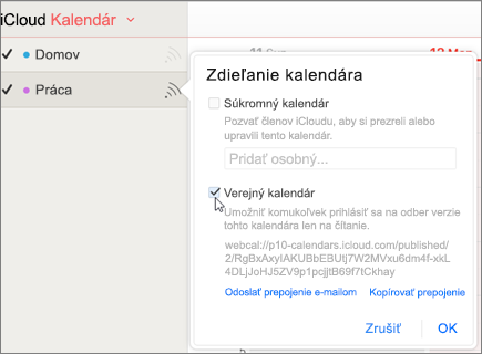 Nastavenie verejný kalendár v službe iCloud