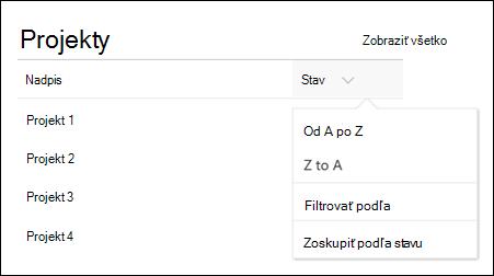 Webová časť zoznam s ponukou zoradenia, filtrovania a skupiny