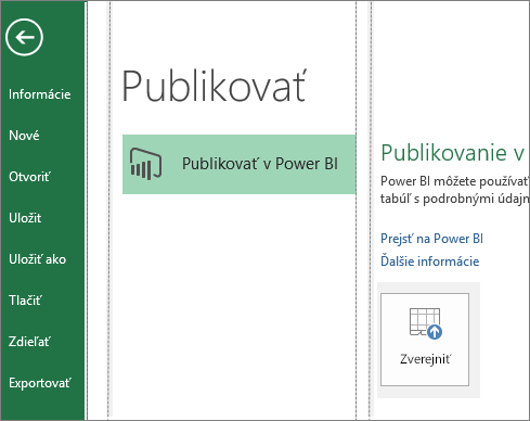 Karta Publikovať v Exceli 2016 zobrazujúca tlačidlo Publikovať v Power BI