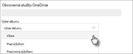 Snímka obrazovky s výberom dátumu na obnovenie obrazovky OneDrive