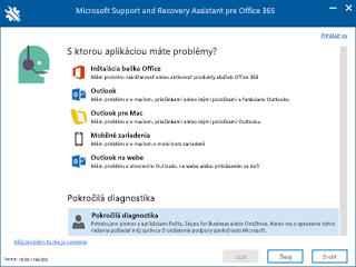 Snímka obrazovky výberu scenára v nástroji Support and Recovery Assistant s vybratým scenárom Rozšírená diagnostika.
