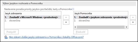 Dialógové okno umožňujúce vybrať jazyk, ktorý bude Office používať pre tlačidlá, ponuky a Pomocníka.