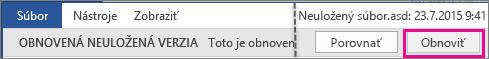 Otvorenie neuložených súborov v Office 2016