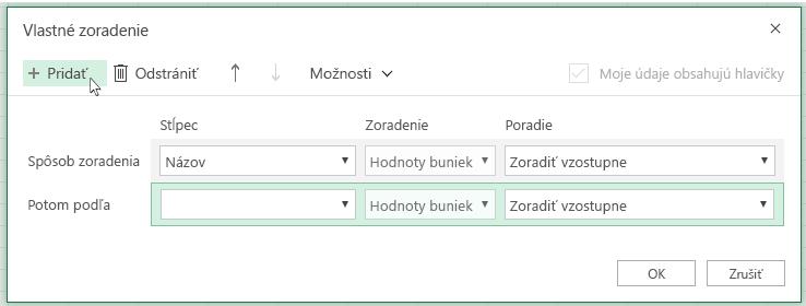 Po kliknutí na položku Pridať sa vzozname vedľa položky Potom podľa zobrazí ďalšia úroveň zoradenia