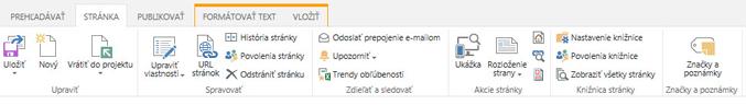 Snímka obrazovky s kartou Stránka, ktorá obsahuje rôzne tlačidlá na úpravu, ukladanie, vrátenie publikačných stránok do projektu alebo naopak ich vzatie z projektu