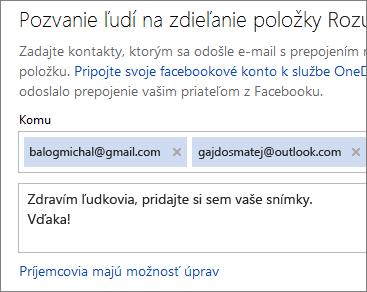 Zadanie e-mailových adries asprávy na odoslanie prepojenia e-mailom