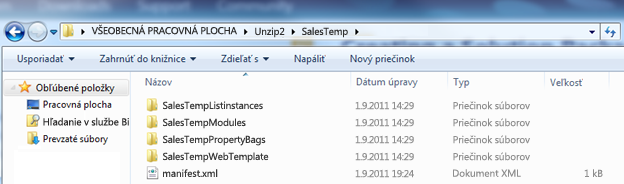 Snímka obrazovky Prieskumníka zobrazujúca rozbalený balík Web Solution Package (.wsp).