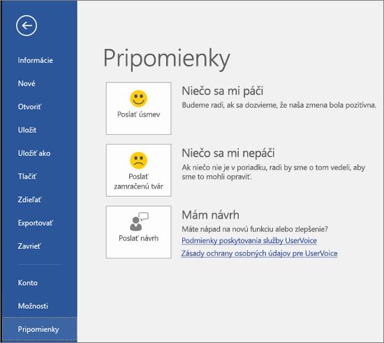 Kliknutím na položky Súbor > Pripomienky poskytnite komentáre alebo návrhy k Microsoft Visiu