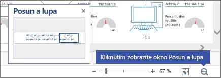 Okno Posun a lupa zobrazené v hornej časti diagramu