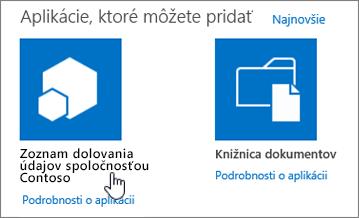 Dialógové okno Aplikácie, ktoré môžete pridať so zvýraznenou aplikáciou