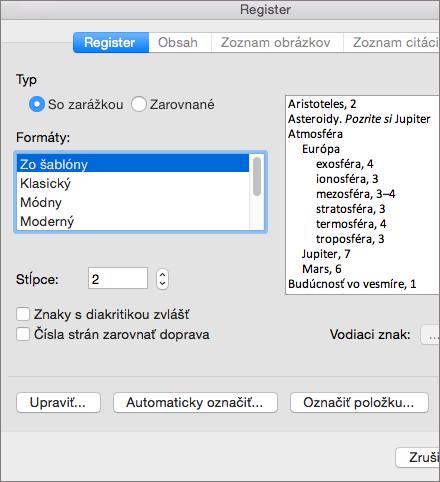 Zobrazenie možností, ktoré možno nastaviť v dialógovom okne Register