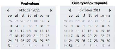 V tabuľke dátumov na paneli s úlohami a bez čísla týždňov