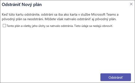 Snímka obrazovky s dialógovým oknom Odstrániť kartu v aplikácii Teams