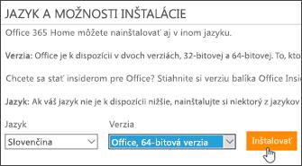 Snímka obrazovky s možnosťami jazyka a verzie spolu s tlačidlom Inštalovať
