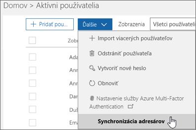 Vponuke Ďalšie vyberte možnosť Synchronizácia adresárov